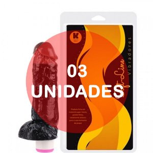 KIT03 - Pênis vibrador duo color 18.5x4.5cm preto x chocolate