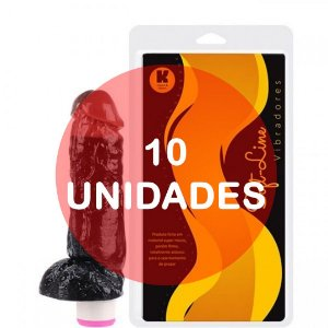 KIT10 - Pênis vibrador duo color 18.5x4.5cm preto x chocolate