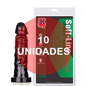 KIT10 - PÊNIS VAC-U-LOC (sistema de fixação para cinta) 17,5X3,8 CM COR PRETO