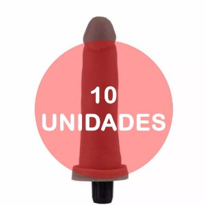KIT10 - Pênis vibrador cyber skin 15x3.3cm - cor chocolate