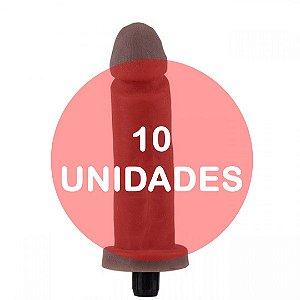 KIT10 - Pênis vibrador cyber skin 18x4cm - cor chocolate
