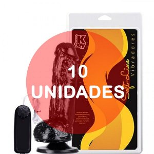 KIT10 - Pênis realístico com vibrador e ventosa para fixação 22cm - cor preta
