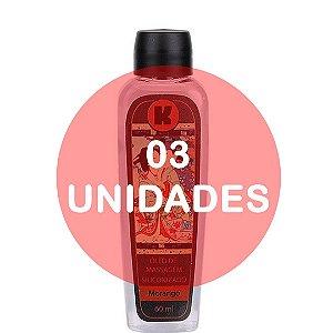 KIT03 - Óleo de massagem siliconizado provoca leve aquecimento relaxante - 60ml - fragrância morango