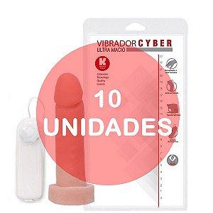 KIT10 - PÊNIS REALÍSTICO VERTEBRADO VIBRADOR CYBER SKIN 15,5 x 3,7 CM - COR BEGE