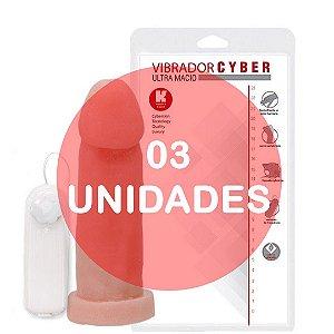 KIT03 - PÊNIS REALÍSTICO VERTEBRADO VIBRADOR CYBER SKIN 19 x 5 CM - COR BEGE