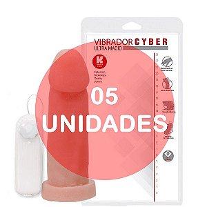 KIT05 - PÊNIS REALÍSTICO VERTEBRADO VIBRADOR CYBER SKIN 19 x 5 CM - COR BEGE
