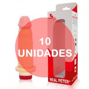 KIT10 - pênis com vibrador 15 x 4 cm - Real Peter