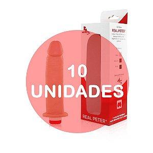 KIT10 - Pênis realístico com vibrador - 20x4 cm - cor bege