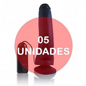 KIT05 - PÊNIS 23 x 5 cm - VIBRADOR E VENTOSA preto - Real Peter Rambo