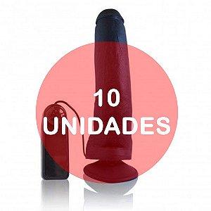KIT10 - PÊNIS 23 x 5 cm - VIBRADOR E VENTOSA preto - Real Peter Rambo