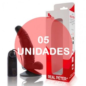 KIT05 - PÊNIS 17 X 3.5 cm - VIBRADOR E VENTOSA - Preto - Real Peter Curvo