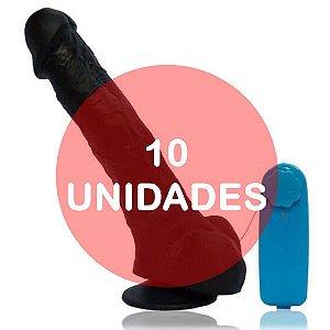 KIT10 - Pênis realístico - nacho 21x5cm com vibrador e ventosa - cor preta