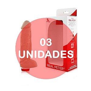 KIT03 - JAMANTA - PRÓTESE REALÍSTICA EM FORMATO DE PÊNIS COM GLANDE DEFINIDA, VEIAS E ESCROTO - 19 X 4,5 CM | COR: BEGE