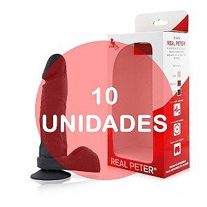 KIT10 - Pênis realístico com ventosa 19x4,5cm - cor preta