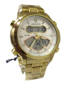 Relógio Atlantis G3448 Anadigi Dourado Fundo Branco
