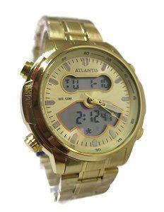 Relógio Atlantis G3448 Anadigi Dourado Fundo Dourado