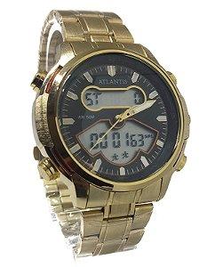 Relógio Atlantis G3448 Anadigi Dourado Fundo preto