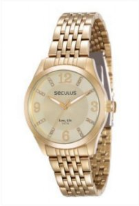 893eff6037d ATACADO Relógio Feminino Dourado Seculus Analógico 28779LPSVDS2 ...