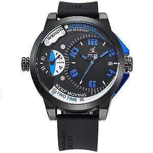 ATACADO Relogio Masculino Weide Analogico UV-1501 - Preto e Azul