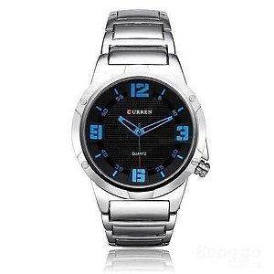 Atacado Relógio Masculino Curren Analógico 8111 - Prata e Azul