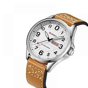 Relógio Feminino Curren Analógico 8269 bege prata e branco