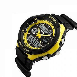 Relógio Masculino Skmei Anadigi 0931 preto amarelo
