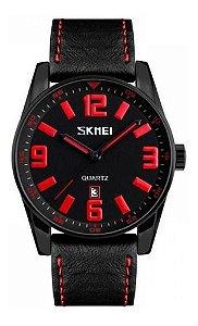 Relógio Masculino Skmei Analogico 9137 Preto e Vermelho