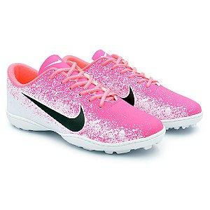 Chuteira Society Nike Mercurial Vapor 12 Academy - Branco/Rosa