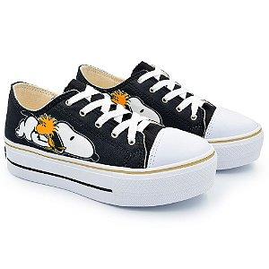 Tênis Feminino Plataforma Snoopy Dog - Preto