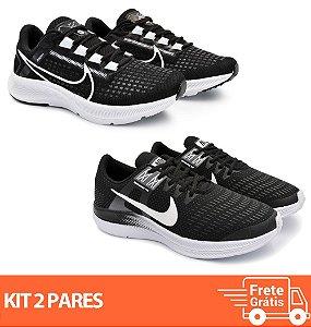 Kit 2 Pares - Tênis Nike Pegasus 38 Preto/Branco + Dynamic Preto/Branco