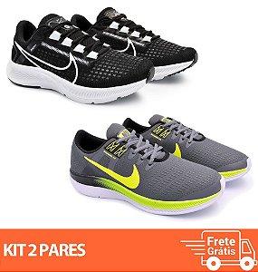 Kit 2 Pares - Tênis Nike Pegasus 38 Preto/Branco + Dynamic Grafite/Verde