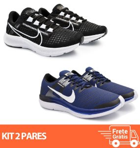 Kit 2 Pares - Tênis Nike Pegasus 38 Preto/Branco + Dynamic Marinho