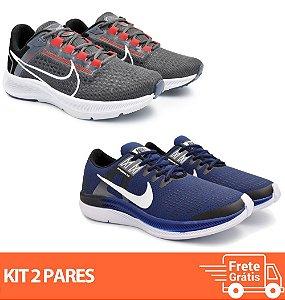 Kit 2 Pares - Tênis Nike Pegasus 38 Grafite + Dynamic Marinho