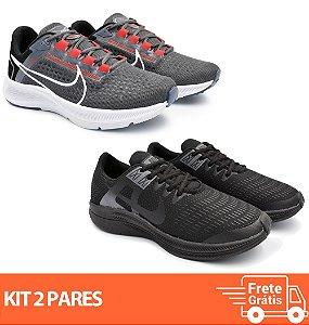 Kit 2 Pares - Tênis Nike Pegasus 38 Grafite + Dynamic Preto