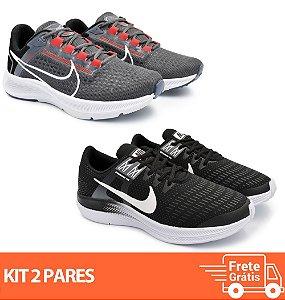 Kit 2 Pares - Tênis Nike Pegasus 38 Grafite + Dynamic Preto/Branco