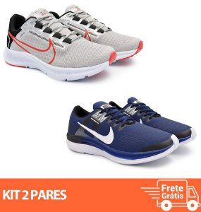 Kit 2 Pares - Tênis Nike Pegasus 38 Cinza + Dynamic Marinho