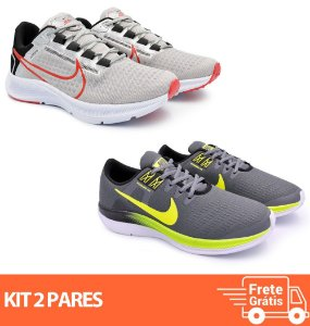 Kit 2 Pares - Tênis Nike Pegasus 38 Cinza + Dynamic Grafite/Verde