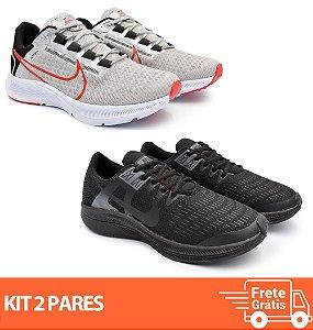 Kit 2 Pares - Tênis Nike Pegasus 38 Cinza + Dynamic Preto