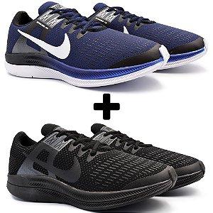 Combo 2 Pares - Tênis Nike Air Zoom Dynamic Marinho + Preto