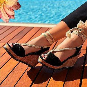 Sandália Feminina Salto Alto Anabela Plataforma Platform Flatform Cromic Femme Original com Amarração Cordinha – PROMOÇÃO BLACK FRIDAY 2019 #vemverão