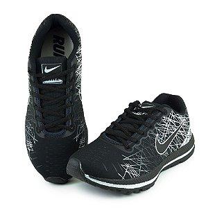 Tênis Esportivo Caminhada Masculino Nike Rajado - Preto/Branco