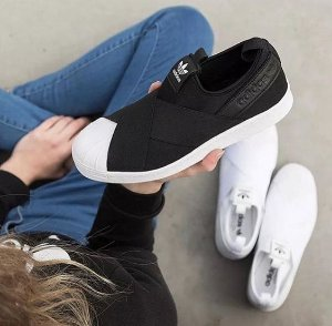 Tênis Feminino Adidas Superstar Slip On - Promoção - Cor: Preto