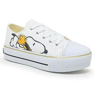 Tênis Feminino Plataforma Snoopy Dog - Cor:Branco