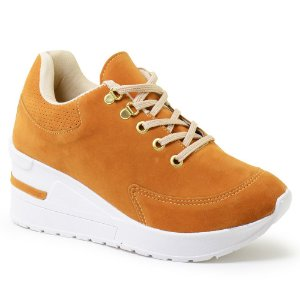 Tênis Feminino Salto Alto Anabela Sneaker Camurça - Mostarda