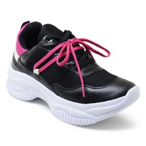 Tênis Feminino Plataforma Sneaker Chunky Colors Duo - Preto/Rosa