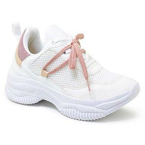 Tênis Feminino Plataforma Sneaker Chunky Colors Duo - Branco/Lilás