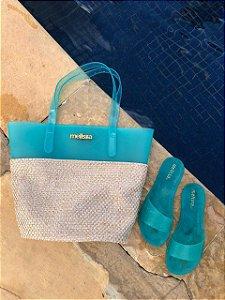 Kit Praia Melissa – Bolsa + Chinelo Beach Verão – Lançamento 2021 - Verde Água