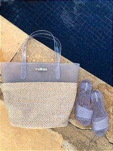 Kit Praia Melissa – Bolsa + Chinelo Beach Verão – Lançamento 2021 - Transparente