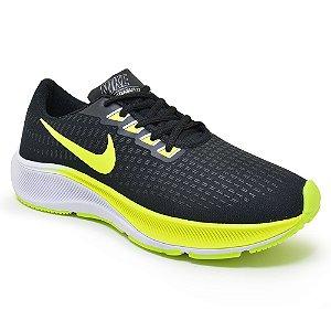 Tênis Masculino Caminhada Esportivo Nike Air Zoom Pegasus 37 - Preto/Amareo
