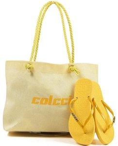 Kit Colcci – Bolsa + Chinelo – Lançamento 2021 - Amarelo